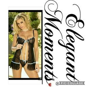 PLUS size black 2X babydoll with blue bow details